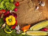 Preparing vegetable on wooden boards. — Stock Photo