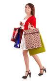 Dziewczynka gospodarstwa grupa torba na zakupy. — Zdjęcie stockowe