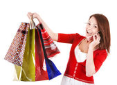 Girl holding group shopping bag. — Стоковое фото