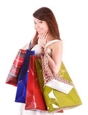 Ung kvinna med gruppen shoppingväska. — Stockfoto