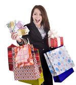 Chica con dinero, regalos, caja. — Foto de Stock
