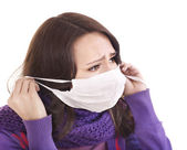 Sick girl in medical mask. — Stockfoto