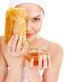 Natural homemade organic facial masks of honey. — Stock Photo