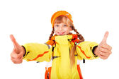 Girl in autumn orange hat with thumb up. — Stock Photo