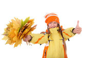 Girl in autumn orange hat holding leaves. — Stock Photo