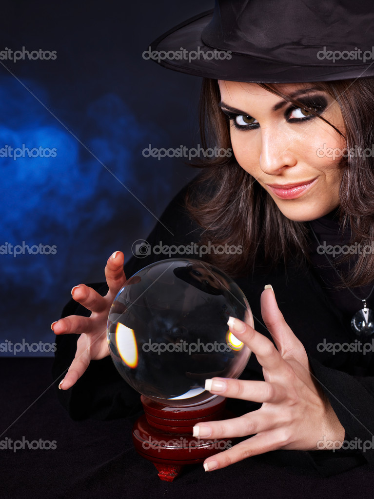 Young beautiful woman with crystal ball. — Stock Photo #7111579