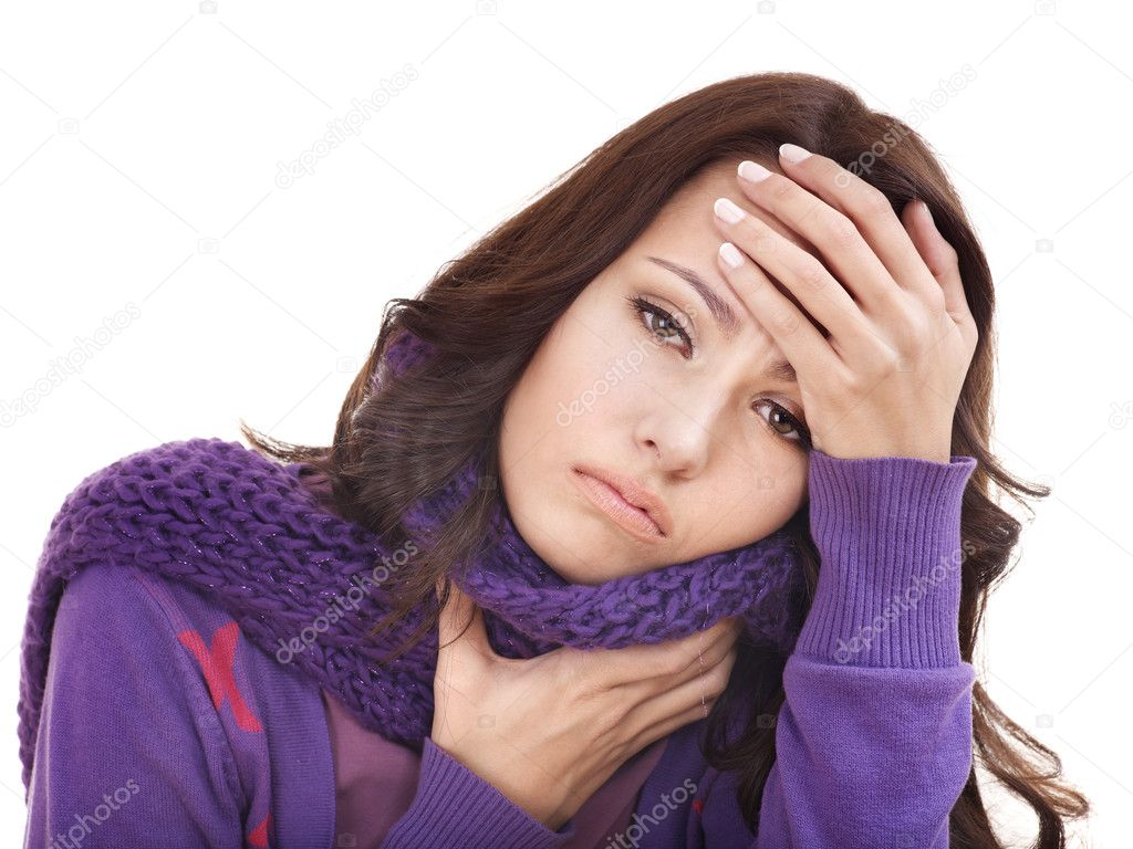 Young woman with handkerchief having  cold. Isolated.  Stock Photo #7111677