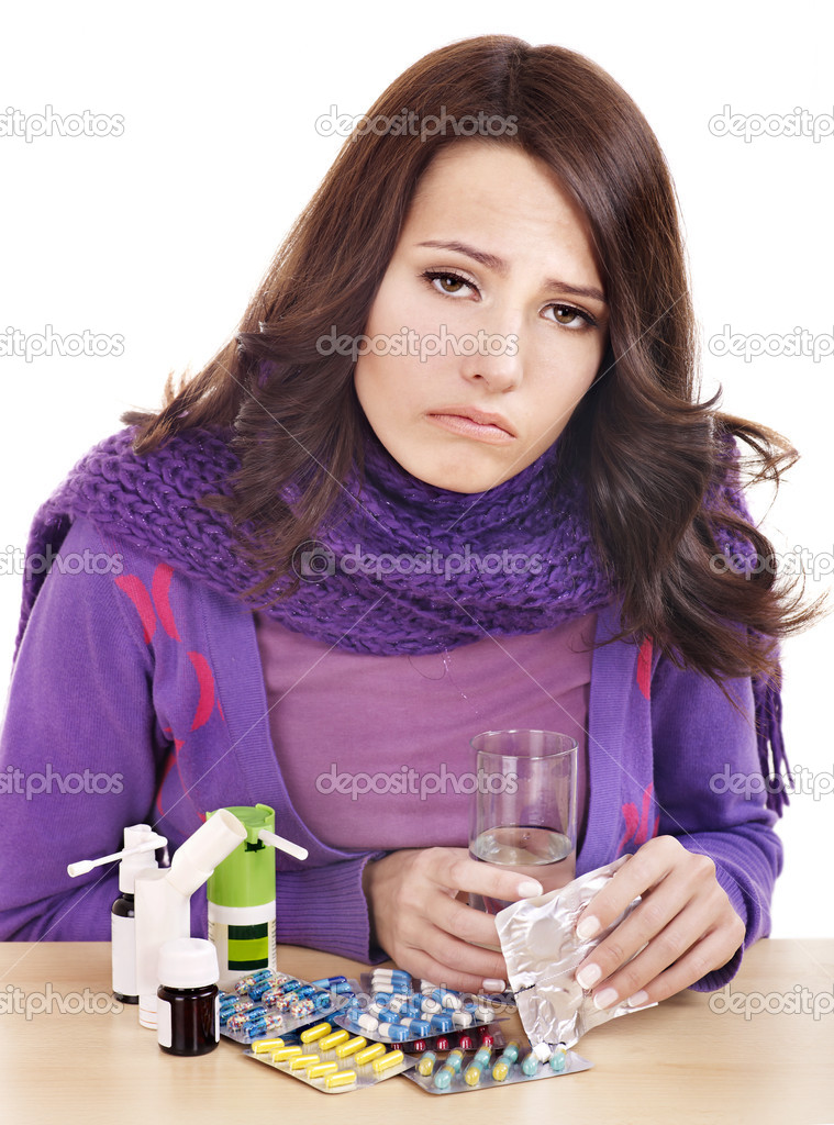 Young woman having flu takes pills. — Stock Photo #7111678