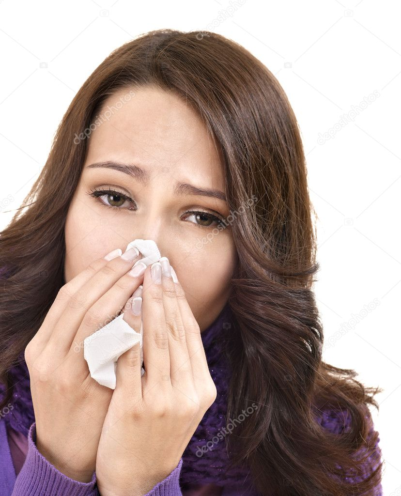 Young woman with handkerchief having  cold. Isolated. — Stock Photo #7111685