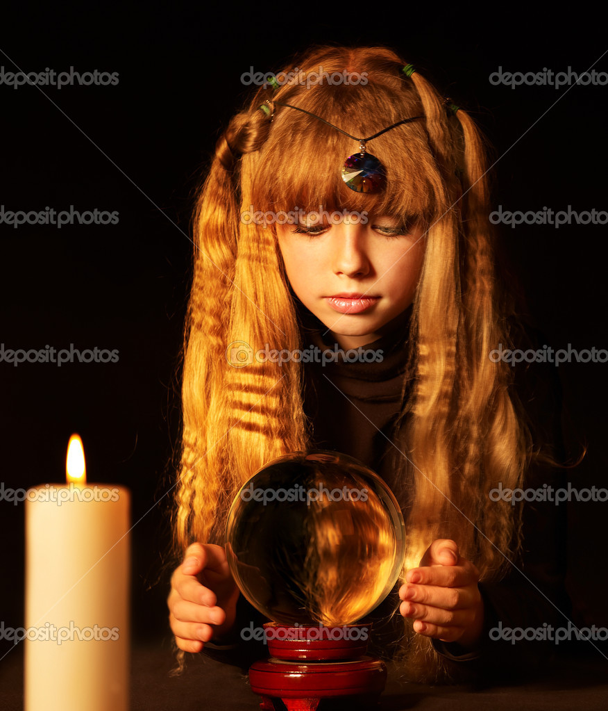 Little girl holding crystal ball.Series. — Stock Photo #7112070