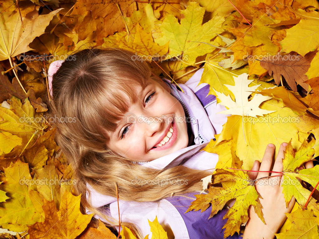 Child in autumn orange leaves. Outdoor. — Stock Photo #7112093