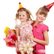 Children in party hat. — Stock Photo