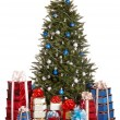 Christmas tree with silver ,blue ball, group gift box. - Stock fotografie