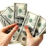 Money dollar in hand. — Stock Photo
