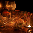 Two wine glass and candle. — Stock Photo