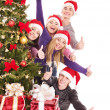 Group young in santa hat. — Stock Photo #7258372