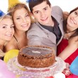 Group holding cake. — Stock Photo #7258392