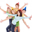 Group of young in party hat. — Stock Photo #7258395