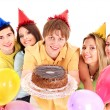 Group holding cake. — Stock Photo #7258408