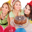 Group holding cake. — Stock Photo #7258409