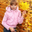 Kid in autumn orange leaves. — Stock Photo #7259048