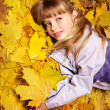 Kid in autumn orange leaves. — Stock Photo #7259081