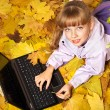Kid in autumn orange leaves with laptop. — Photo