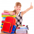 Child with stack of books and showing thumb up. — Stock Photo