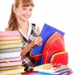 School child holding stack of books. — Stock Photo #7259154