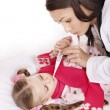 Doctor take  child temperature — Stock Photo