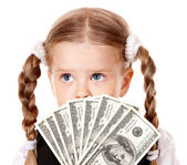 Sad child with money dollar. — Stock Photo