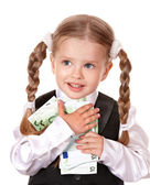 Happy little girl with money euro. — Stock Photo