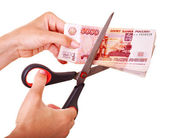 Money (Russian rouble). Currency collapse. — Stock Photo