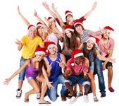 Group in santa hat. — Stock Photo