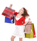 Girl holding group shopping bag. — Stockfoto