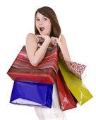 Ragazza emozione con borsa shopping. — Foto Stock