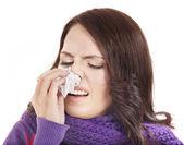 Sick woman with handkerchief having cold. — Stock Photo