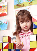 Child playing block in preschool. — Stock Photo