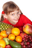 Child with group of fruit. — Stock Photo