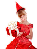Birthday child girl in red dress with gift box. — Stock Photo