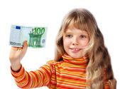 Bambino con denaro di euro. — Foto Stock
