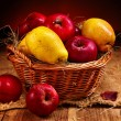 Fruit in wicker basket. — 图库照片