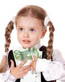 Happy little girl with money dollar. Isolated. — Stock Photo
