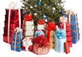 Group gift box, christmas tree with silver ,blue ball. — Stock Photo