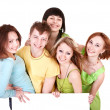 Group of holding banner. — Stock Photo