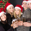 Group young in santa hat. — Stock fotografie