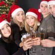 Group young in santa hat. — Stock Photo #7610066