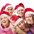 Group young in santa hat . — Stock fotografie
