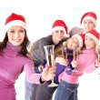 Group young in santa hat — Stock Photo #7610087