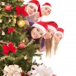 Group in santa hat by christmas tree. — Stockfoto